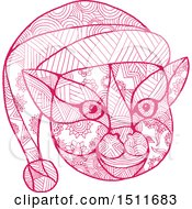 Clipart Of A Pink Zentangle Styled Christmas Cat Face Wearing A Santa Hat Royalty Free Vector Illustration
