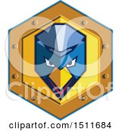 Blue Cyber Punk Chicken Face In A Golden Shield