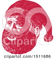 Clipart Of A Red Woodcut Santa Claus Face Royalty Free Vector Illustration by patrimonio