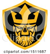 Clipart Of A Neptune Skull In A Shield Royalty Free Vector Illustration