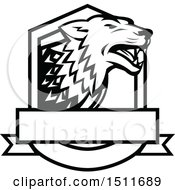 Clipart Of A Black And White Wolf In A Crest Royalty Free Vector Illustration