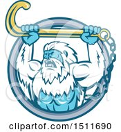 Poster, Art Print Of Strong Yeti Holding Up A Towing J Hook In A Circle