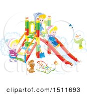 Clipart Of A Puppy Dog And Children Playing On A Winter Playground Royalty Free Vector Illustration