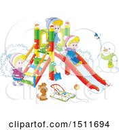 Cartoon Puppy And Children Playing On A Winter Playground