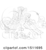 Clipart Of A Black And White Puppy And Children Playing On A Winter Playground Royalty Free Vector Illustration