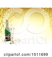 Clipart Of A 3d New Year Background With Fireworks Streamers And Champagne Royalty Free Vector Illustration