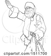 Clipart Of A Black And White Christmas Santa Holding A Sack And Waving Royalty Free Vector Illustration