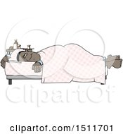 Cartoon Sick Black Man Resting In Bed