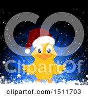Poster, Art Print Of Christmas Chick Wearing A Santa Hat Over A Blur Burst With Stars And Snow