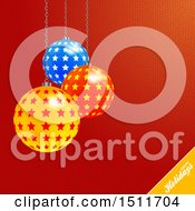 Clipart Of A Happy Holidays Greeting With 3d Christmas Star Bauble Ornaments Over Red Royalty Free Vector Illustration