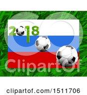 2018 Soccer Ball Russian Flag Over Grass