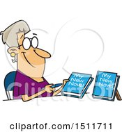 Clipart Of A Cartoon White Woman Author Signing New Books Royalty Free Vector Illustration by toonaday