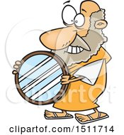 Clipart Of A Cartoon Man Archimedes Holding A Mirror Parabolic Reflector Royalty Free Vector Illustration