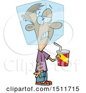 Clipart Of A Cartoon White Man Drinking A Cold Beverage And Experiencing A Brain Freeze Royalty Free Vector Illustration
