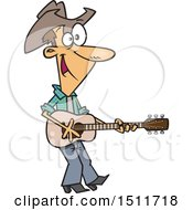 Clipart Of A Cartoon White Male Country Singer Cowboy Playing A Guitar Royalty Free Vector Illustration by toonaday