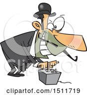 Clipart Of A Cartoon Evil White Man Using A Detonator Royalty Free Vector Illustration