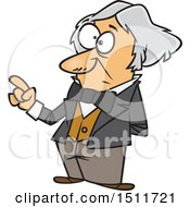 Clipart Of A Cartoon Man Michael Faraday Holding Up A Finger Royalty Free Vector Illustration by toonaday