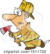 Cartoon White Male Fire Fighter Holding An Axe