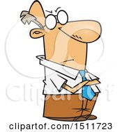 Cartoon Impatient White Business Man With Folded Arms