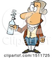 Clipart Of A Cartoon Man Antoine Lavoisier Holding A Bottle Royalty Free Vector Illustration
