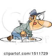 Clipart Of A Cartoon White Man Sawing A Circle In The Floor Around Himself Royalty Free Vector Illustration
