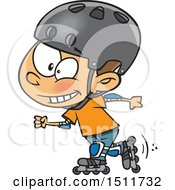 Clipart Of A Cartoon Boy Roller Blading Royalty Free Vector Illustration