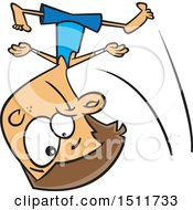 Clipart Of A Cartoon Gymnast Boy Tumbling Royalty Free Vector Illustration