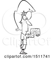 Cartoon Black And White Woman With Her Arm In A Crazy Cast