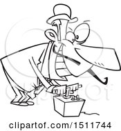 Clipart Of A Cartoon Black And White Evil Man Using A Detonator Royalty Free Vector Illustration