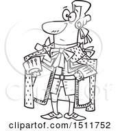 Clipart Of A Cartoon Black And White King George In A Yellow Outfit Royalty Free Vector Illustration by toonaday