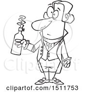 Cartoon Black And White Man Antoine Lavoisier Holding A Bottle