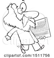 Cartoon Black And White Man Dmitri Mendeleev Carrying The Periodic Table Of Elements