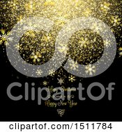 Clipart Of A Merry Christmas And A Happy New Year Greeting With Gold Snowflakes And Confetti On Black Royalty Free Vector Illustration