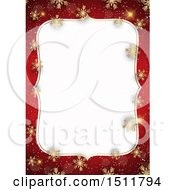 Clipart Of A Red And Gold Christmas Snowflake Border Royalty Free Vector Illustration by KJ Pargeter