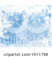 Watercolor Winter Christmas Snowflake Background