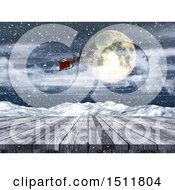 3d Christmas Santa Flying His Sleigh Over A Wood Surface And Winter Landscape