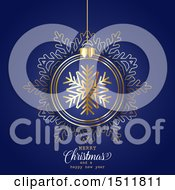 Clipart Of A Merry Christmas And A Happy New Year Greeting With A Snowflake Bauble On Blue Royalty Free Vector Illustration