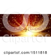 Clipart Of A We Wish You A Merry Christmas Greeting Over A Burst Royalty Free Vector Illustration