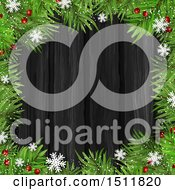 Clipart Of A Chrsitmas Tree Berry And Snowflake Border Over Dark Wood Royalty Free Vector Illustration