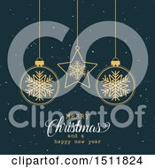Clipart Of A Merry Christmas And A Happy New Year Greeting With Snowflake Baubles Royalty Free Vector Illustration