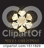Clipart Of A Merry Christmas Greeting With A Snowflake And Gold Glitter Royalty Free Vector Illustration