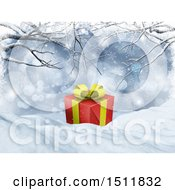 Clipart Of A 3d Christmas Gift In Snow Royalty Free Illustration