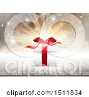 Clipart Of A 3d Christmas Gift On A Table Over A Burst Royalty Free Vector Illustration