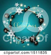 Clipart Of A Merry Christmas And A Happy New Year Greeting In A Round Frame With 3d Black Baubles And Snowflakes On Blue Royalty Free Vector Illustration