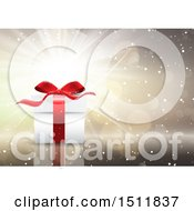 Clipart Of A 3d Christmas Gift Over A Burst Royalty Free Vector Illustration