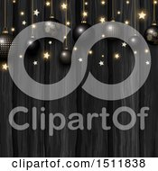 Clipart Of A Christmas Background With 3d Black And Gold Ornaments And Stars Over Wood Royalty Free Vector Illustration by KJ Pargeter