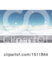 Clipart Of A 3d Snowy Winter Landscape With A Table Or Deck Royalty Free Illustration
