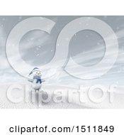 3d Snowman In A Winter Landscape