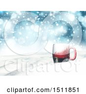 Clipart Of A 3d Santa Suit Coffee Mug In A Winter Landscape Royalty Free Illustration