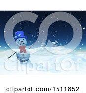 3d Waving Snowman Near A House In A Winter Landscape